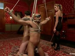 Femdom Bondage Threesome with Felony Having Fun with Two Guys