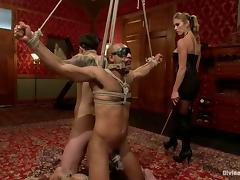 Femdom Bondage Threesome with Felony Having Fun with Two Guys