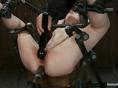 Ass and Pussy Toying Action for a Forced Orgasm for Bounded Girl