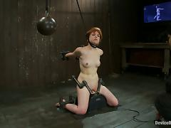 Short-Haired Redhead Juliette March Taken to Orgasm by Sybian in BDSM vid