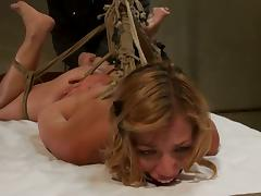 Blonde Audrey Rose is Hanging From the Ceiling with Ropes - BDSM Video