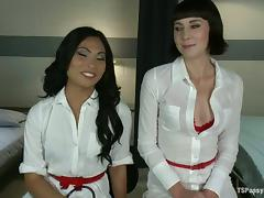 Kinky Nurses Having Hot Sex with One of Them Being a Shemale