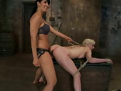 Cherry Torn Gets Fucked From Behind by Isis Love's Strapon in BDSM Vid