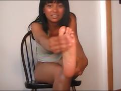 Barefoot Bratty Black Chick's JOI Sole Show