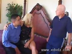 Good Husband Watches While His Awesome Blonde Wife Tabitha James Gets Nailed By Two Male Pornstars