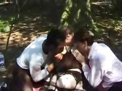 British stud Omar fucks a MILF outdoors in a FMM threesome
