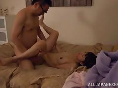 Lusty and sexy Japanese honey gets her Asian twat nailed