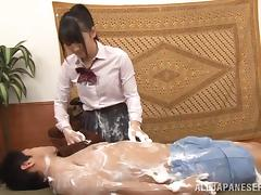 Dirty handjob from a booty Japanese schoolgirl