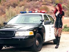 Elle Alexandra shakes her nice ass lying on a police car porn video