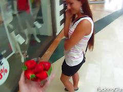 Sweet strawberry fucked in a public WC