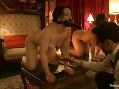 Two tied up brunette girls sucks big dicks and get nailed