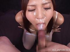 down on her knees she earns jizz