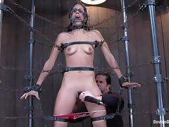 Hogtie with chains around Lyla Storm's hot body porn video