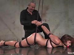 Curly Sabrina Fox gets gagged and tied up in water bondage video porn video
