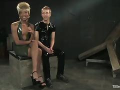 Dude in latex suit gets fucked by a filthy shemale Nyobi