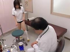 Horny gynecologist fingers an asian twat in hot spy movie porn video