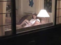 My brunette neighbor Anne voyeured masturbating thru window