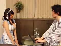 Busty Japanese maid Ai Hoshimiya gets fondled and fucked hard