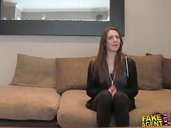 FakeAgentUK: Posh young British girl gets anal creampie casting porn video