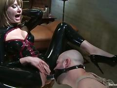 Latex Clad Bitch Maitresse Madeline Pegging in Femdom Bondage Video