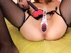 Gyno toys and peeing of her nasty cunt porn video