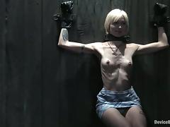 Skinny blonde babe in glasses gets tortured and humiliated porn video