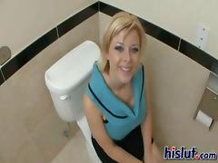 Kinky milf Kylee rode this bone in a public bathroom
