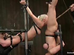 Bonded blonde girls lick pussies and get tortured