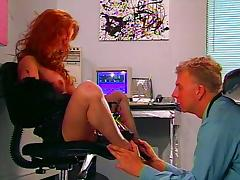 Spiked heels redhead slut lets him lick porn video