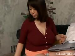 japanese milf shows off her silk panties