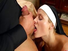Nun, Ass Licking, Blonde, Blowjob, Couple, Cum