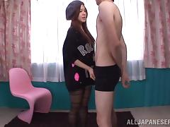 Horny Asian teen sucks that dick and gets jizzed on her face