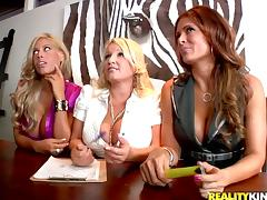 Three slutty chicks fuck two guys at a casting in CFNM video