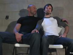 Cock and Ass Spanking and Butt Fuck in Gay BDSM Video for Goatee Guy