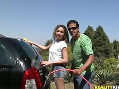 Sexy Laysa washes a car and rides big cock like a wild animal porn video