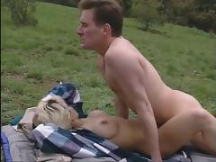 Blonde gets fucked in her ass and pussy outdoors