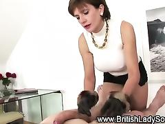 Lady Sonia gloved cock jerking