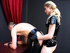 German mistress humiliates slave. porn video