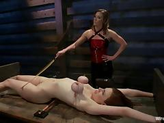 Breast bondage and a strapon penetration is what Iona loves