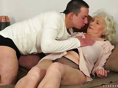 Norma the old bitch gets fucked by much younger dude porn video