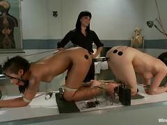 Two girls get tortured with electricity by their mistress