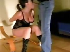 Amateur girl shared in threesome and handcuffed