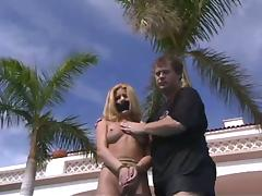 Poolside Miami bondage for a horny siren Mallory Knots porn video