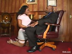 Naughty Ebony Lori Alexa Fucked Hard in the Office by Dominating Boss