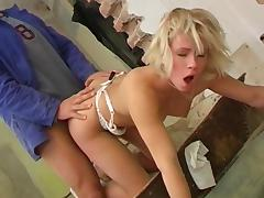 Blonde whore gets her asshole fucked and her pussy licked porn video