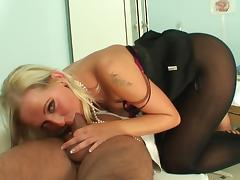 Sweet blonde being face-fucked so hard