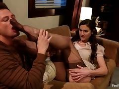 Gorgeous Samantha Ryan gets fucked in foot fetish video porn video