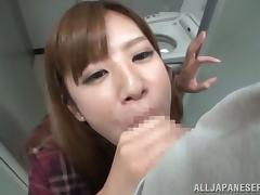 Asian Chick Getting Her Hairy Pussy Fucked for Facial in Men's Restroom