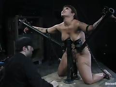 DragonLily get tied up with straps and toyed with a vibrator