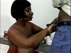 Ebony Slut With Big Tits Likes The Taste Of White Sperm